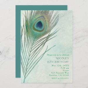 Peacock Feather Boho Chic Watercolor Invitations starting at 2.51
