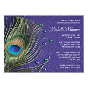Peacock Feather Jewels Purple Bridal Shower Invitation starting at 2.21