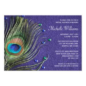 Peacock Feather Jewels Purple Bridal Shower Invitation starting at 2.51