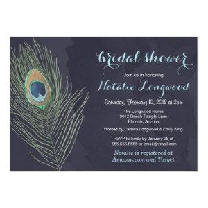 Peacock Feather Watercolor Baby or Bridal Shower Invitation starting at 2.82