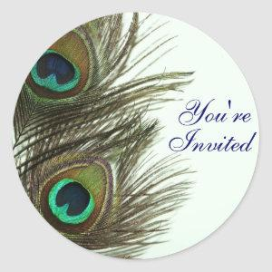 Peacock Feather You're Invited Envelope Stickers starting at 6.65