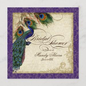 Peacock & Feathers Bridal Shower Invite Purple starting at 2.51