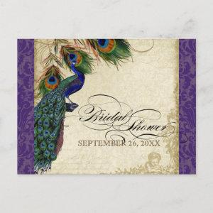 Peacock & Feathers Formal Bridal Shower Purple Invitation Postcard starting at 1.80