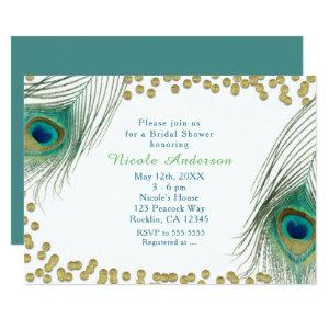 Peacock Feathers & Gold Dots Boho Glam Invitation starting at 2.56