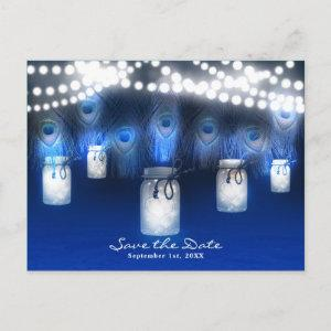 Peacock Feathers, Mason Jar & Lights Save the Date Announcement Postcard starting at 2.34
