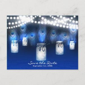 Peacock Feathers, Mason Jar & Lights Save the Date Announcement Postcard starting at 2.02