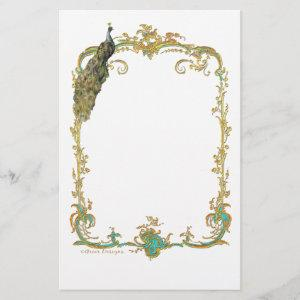 Peacock with Gold Frame Ornate Stationery starting at 0.95
