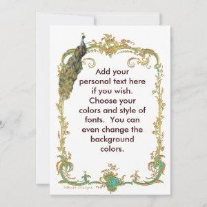 Peacock with Gold Frame Ornate Stationery Note Card starting at 2.41