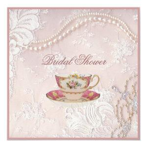 Pearl Blush pink lace bridal Tea Party Invitation starting at 2.67