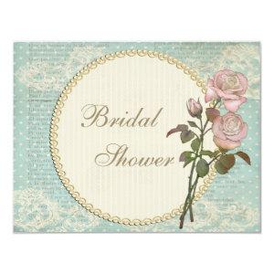 Pearls & Lace Shabby Chic Roses Bridal Shower Invitation starting at 2.31