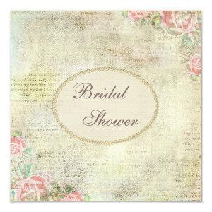 Pearls & Lace Shabby Chic Roses Bridal Shower Invitation starting at 2.51