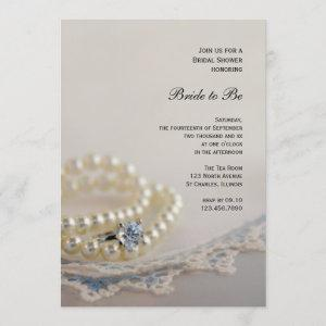 Pearls, Ring and Vintage Blue Lace Bridal Shower starting at 2.60