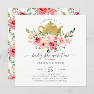 Peonies Rose Floral Baby Shower Tea Invitation starting at 2.30