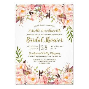 Peony Blush Pink Gold Bridal Shower Invitations starting at 2.25