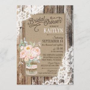 Peony Floral Wood Lace Rustic Bridal Shower starting at 2.77