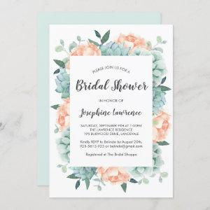 Peony & Succulents Watercolor Bridal Shower Invitation starting at 2.40