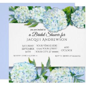 Periwinkle n White Hydrangeas Floral Bridal Shower Invitation starting at 2.40