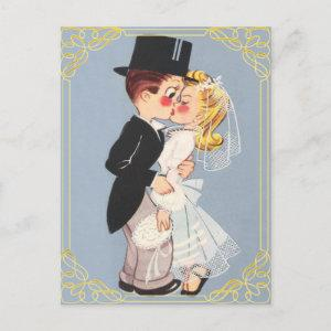 Personalized cartoon bride and groom invitation postcard starting at 1.80