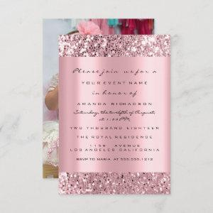 Photo First Birthday Party Glitter Rose Pink Invitation starting at 2.06