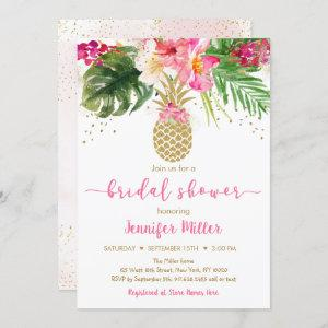 Pineapple Pink Gold Floral Tropical Bridal Shower starting at 2.70