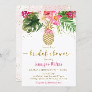 Pineapple Pink Gold Floral Tropical Bridal Shower Invitation starting at 2.70