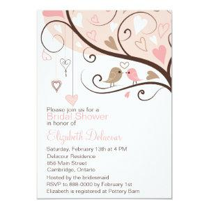 Pink and Brown Love Birds Bridal Shower Invitation starting at 2.51