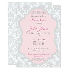 Pink and Gray Damask Baby Shower Invitation starting at 2.51