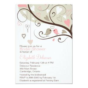 Pink and Gray Love Birds Bridal Shower Invitation starting at 2.51