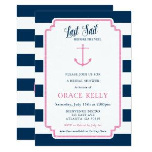 Pink and Navy Nautical Bridal Shower Invitation starting at 2.51