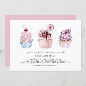 Pink and Purple Watercolor Cupcakes Bridal Shower Invitation starting at 2.40