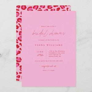 Pink and Red Leopard Minimalist Bridal Shower Invitation starting at 2.40