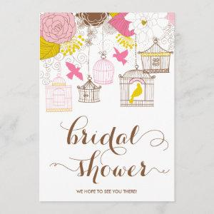 Pink and Yellow Birdcage Spring Bridal Shower II Invitation starting at 2.51
