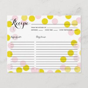 Pink and Yellow Confetti Dots Pattern Recipe Card starting at 2.21