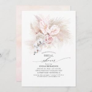 Pink Anthurium and Pampas Grass Bridal Shower Invitation starting at 2.51
