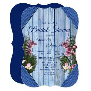 Pink Arty Flowers on Blue-wood Texture Invitation starting at 2.80