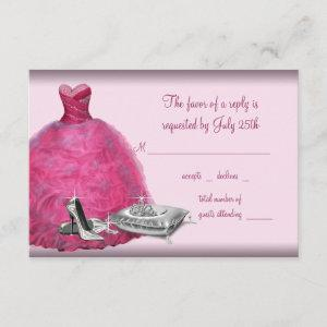 Pink Ball Gown High Heel Shoes Quinceanera RSVP starting at 2.11