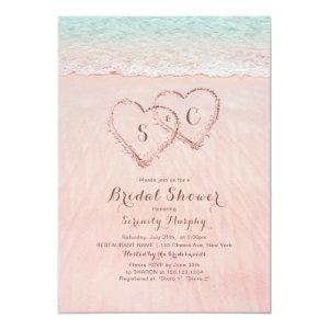Pink beach hearts in the sand bridal shower invitation starting at 2.56