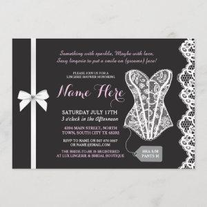 Pink & Black Lingerie Shower Lace Corset Invite starting at 2.51