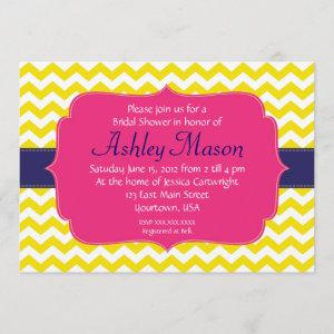 Pink, Blue and Yellow Chevron Shower Invitation starting at 2.56