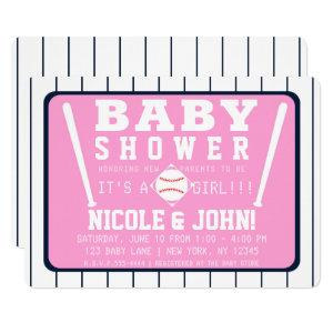 Pink Blue & White Pinstripes Baseball Baby Shower Invitation starting at 2.85