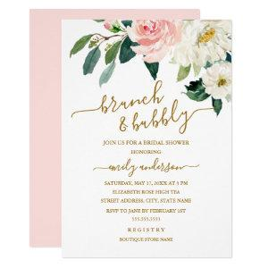 Pink Blush Floral Brunch And Bubbly Bridal Shower Invitation starting at 2.40