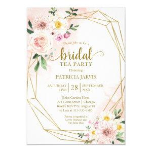 Pink Blush Floral Gold Bridal Shower Tea Party Invitation starting at 2.00