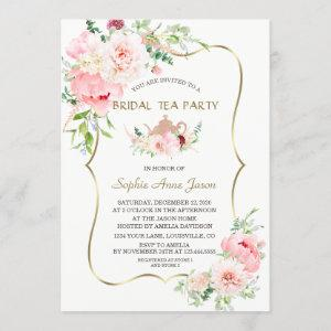 Pink Blush Flowers Gold Bridal Tea Party Invitation starting at 2.55