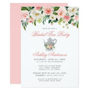 Pink Bridal Shower Tea Party Floral Silver Invite starting at 2.51