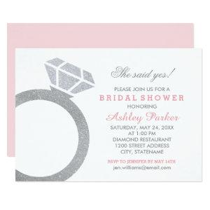 Pink Bridal Shower with Diamond Ring Invitation starting at 2.51