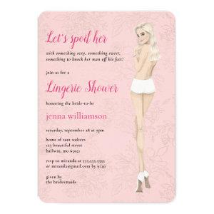 Pink bride in her panties lingerie shower invitation starting at 2.60