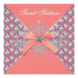 Pink Coral Diamonds Coral Sweet 16 Birthday Party Invitation starting at 2.51