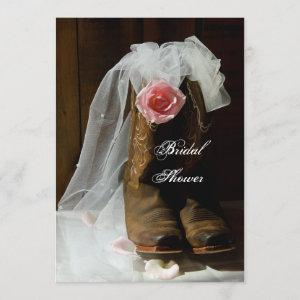 Pink Country Rose and Cowboy Boots Bridal Shower Invitation starting at 2.60