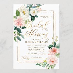 Pink Cream Watercolor Floral Rustic Bridal Shower Invitation starting at 2.55