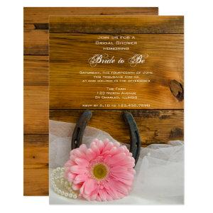 Pink Daisy and Horseshoe Country Bridal Shower Invitation starting at 2.60